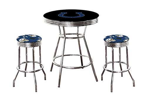 """Pub/Bar Table with Team Logo and 2 – 29"""" Swivel Stools Featuring Your Favorite Football Team Upholstered Seat Cushions (Colts)"""