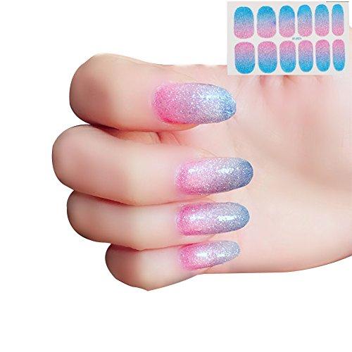 Demarkt Kleurverloop, kleur nagelstickers, zelfklevende fonkelende nagellak, strepen, kunstnageldecoratie, manicure, mooie mode-accessoires, volledige dekking, nail art sticker