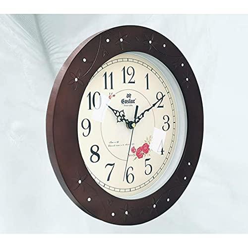 HUIMAIKEJI Reloj de Pared Simple Sala de Estar Reloj Retro Madera Sólida Reloj de Pared Reloj de Pared Reloj de Pared Reloj de Pared Silencioso Reloj de casa 348 * 348 * 45mm