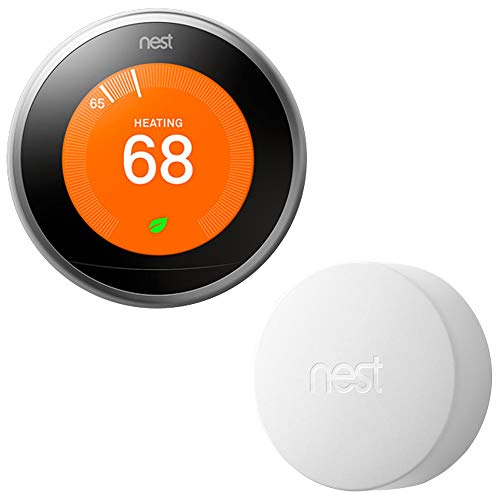 Google Nest T3007ES Learning Thermostat - 3rd Gen - (Stainless Steel) with...