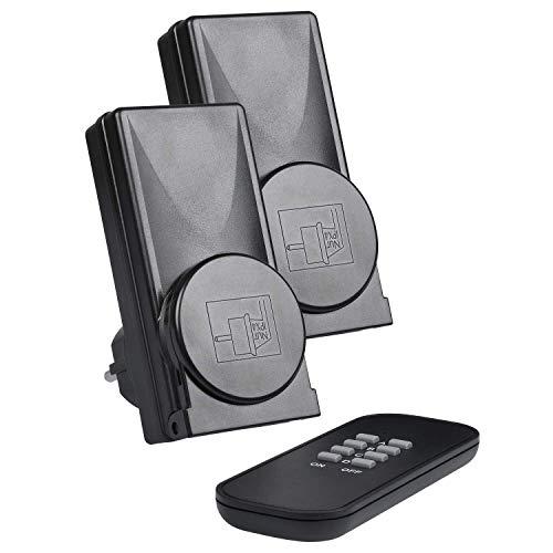 HEITECH 2er Funksteckdosenset mit Fernbedienung außen - Funksteckdose IP44 aussen mit selbstlernende Codierung, 25m Reichweite, Kindersicherung - Outdoor Funksteckdosen Set für den Außenbereich