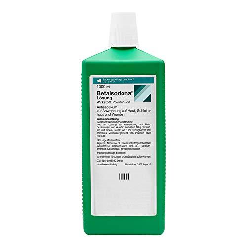 Betaisodona® Lösung 1000 ml Wunddesinfektion für Erwachsene und Kinder ab 6 Monaten, Wunddesinfektionsmittel, ohne Alkohol mit PVP-Iod – brennt nicht