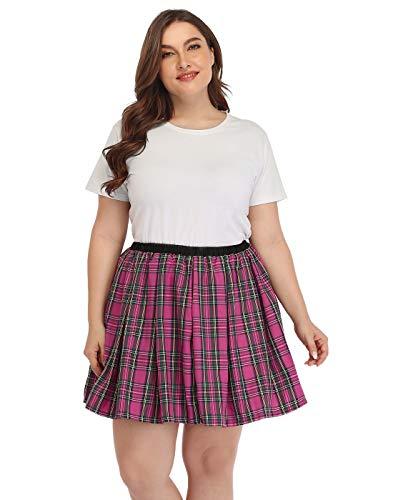 HDE Plus Size Skirt Plaid Mini Skater Skirts Pleated School Girl Lingerie