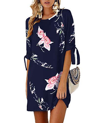 YOINS Damen Kleider Tshirt Kleid Sommerkleid für Damen Rundhals Brautkleid Langarm Minikleid Kleid Langes Shirt Lose Tunika mit Bowknot Ärmeln Blumen-blau-01 L