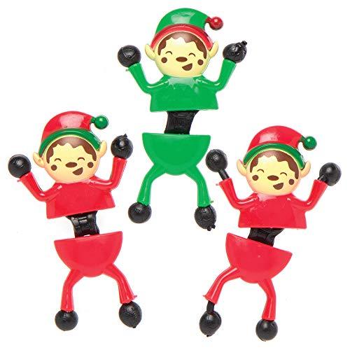 Baker Ross AX322 Elfos De Navidad Trepadores De Pared - Paquete De 6, Juguetes Navideños Para Niños, Ideales Para Regalos De Fiesta, Botines O Bolsas De Premios Y Rellenos De Calcetines