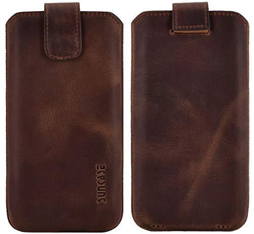 Suncase ECHT Ledertasche Leder Etui kompatibel mit Samsung Galaxy XCover 4s Hülle Tasche Schutzhülle (mit Rückzugsfunktion & Magnetverschluss) in antik Coffee