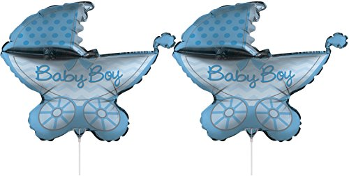 Set of 2 Foil Air Filled Balloons! Helium Free - Sticks and Joiner - Stars - Unique Themes - Party Balloons and Birthday Balloons Perfect for Any Party Decoration! (2ct Stroller Baby Boy 30')