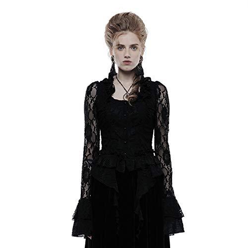 Punk Rave Damen Bluse, Gothic, Spitzenärmelig, elastisch, mit fließendem Saum Gr. XXL, Schwarz
