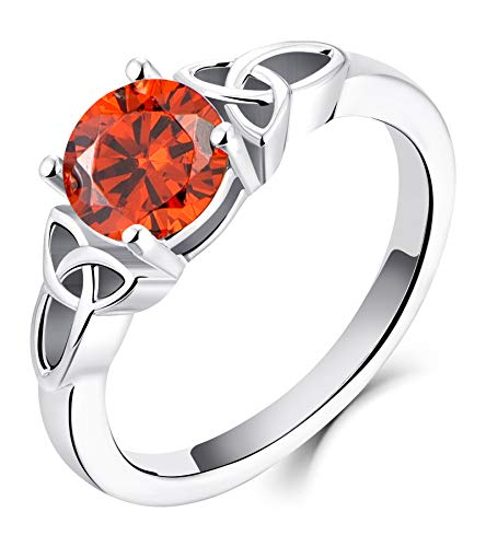 YL Celtic Knot Rings for Women 925 Sterling Silver Created Garnet 18k White Gold Plated Statement Rings-size7