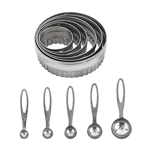 STSUNEU 6pcs Stainless Steel Circle Cookie Cutters for Baking, 5pcs Graduated Ring Tablespoon Measure Spoon Easter Pastry Biscuit Cutter Ring Molds for Cooking
