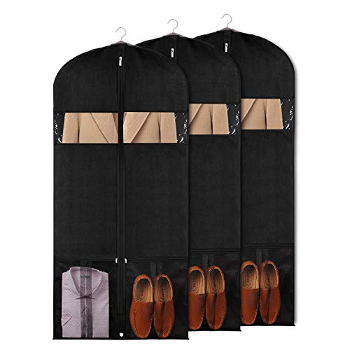 Univivi Garment Bags for Dance Costumes 60' Foldable (3 Pack) Dance Dress Bag with 2 Zipper mesh Bag and Clear Windowfor Travel and Storage for Suits, Dance Costumes,Coats, Dresses, Shirts & More