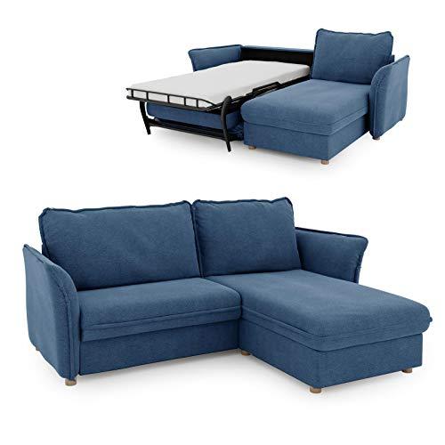 place to be. Schlafsofa 85 cm breit mit Bettkasten 2 Sitzer Sofa mit Schlaffunktion ausklappbar Gästebett mit Recamiere rechts Blau Eiche massiv