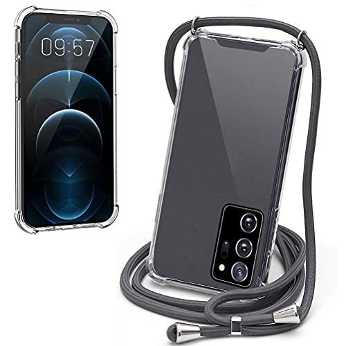 Mkej Handykette Hülle kompatibel mit Samsung Galaxy Note 20 Ultra Handyhülle Durchsichtig TPU Silikon Smartphone Necklace Hülle mit Band - Handyhülle Hülle mit Kette zum umhängen, Grau