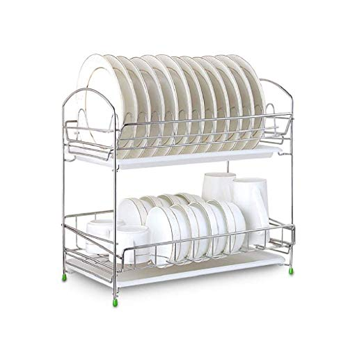 DDEHS Dish rack-Stainless Steel Dish Drain Drying Rack with Bracket 2 Layers Cutlery Rack Large Capacity Tool-Free Installation