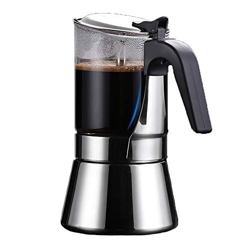 Caffettiera Espresso Stovetop, SIXAQUAE Cristallo Piano In Vetro & Acciaio Inossidabile Espresso Classica Caffettiera Italiana Moka Induzione 160ml