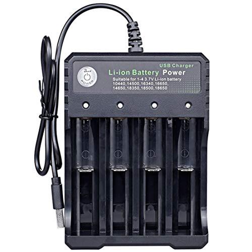 BiaBai 18650 Cargador simple doble 4 ranuras 3.7v Cargador de batería Carga multifunción Cargador de linterna universal