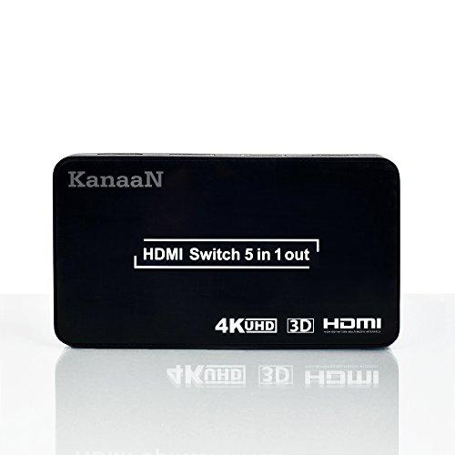 KanaaN HDMI Splitter 4K, HDMI 5x1 Splitter Switch UHD UHD-TV, 3D-Fähig, 5X HDMI-Eingang auf 1x HDMI Ausgänge | HDMI 4K Splitter bis 2160p