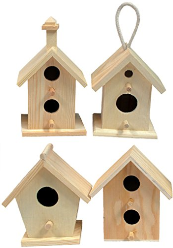 Creative Hobbies Mini 4 Inch Tall Birdhouse, Set of 4 Styles, Unfinished Wood Ready to Paint or Decorate