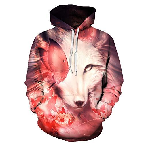 Impresión 3D Lobo Head Series Pareja Casual Sudadera con capucha Marea Marca Hombres Suéter con...