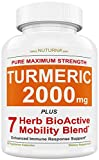 Turmeric Curcumin 2280mg Supplement Capsules with BioPerine Black Pepper, Highest Potency Premium Joint & Healthy Inflammatory Support with Boswellia, White Willow, Ginger, Clove, Cinnamon & Rosemary