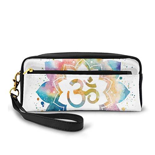 Kleine Make-up-Tasche, religiöse spirituelle Zeichnung auf künstlerische Lotusblume mit Wasserfarbenspritzer, Seelenfrieden, PU-Leder, Reißverschluss, Reise-Kosmetiktasche und Bleistift-Organizer