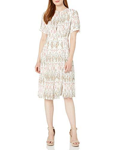 Dear Drew by Drew Barrymore Women's Elizabeth St Short Sleeve Pleated Dress, Marshmallow Multi, 8
