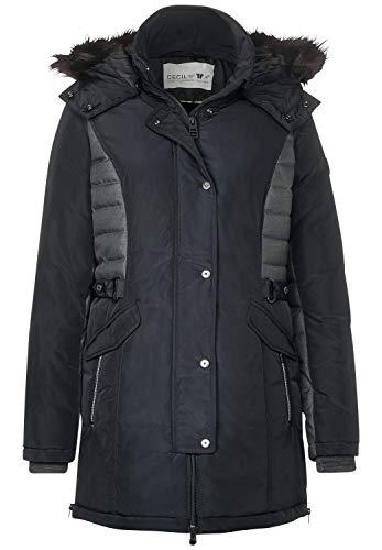 CECIL Damen 100537 Mantel, Mehrfarbig (Black 10001), X-Small (Herstellergröße:XS)