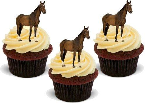 AUSCHNITT VON EINEM BRAUEN PFERD - 12 essbare hochwertige stehende Waffeln Kuchen Toppers - Brown Horse Cutout