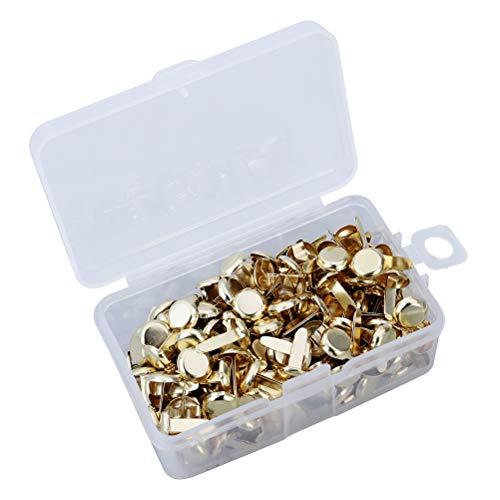 SUPVOX 200pcs Encuadernadores de Metal para Papel Scrapbooking con Caja de Almacenamiento para Manualidades DIY (Oro)