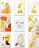 Larcenciel - Poster minimalista con linea astratta da parete, impermeabile, con disegno del viso, stile moderno, per ragazze, donne, casa, camera da letto, dormitorio, 21 cm x 30 cm, confezione da 9