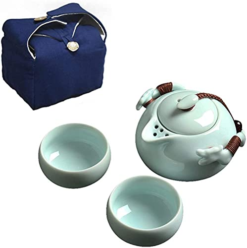 Juego de té de viaje Kungfu con 1 tetera y 2 teacups todo en uno de porcelana juego de té con bolsa de viaje portátil para el hogar, oficina, al aire libre, negocios, hotel, color negro y azul
