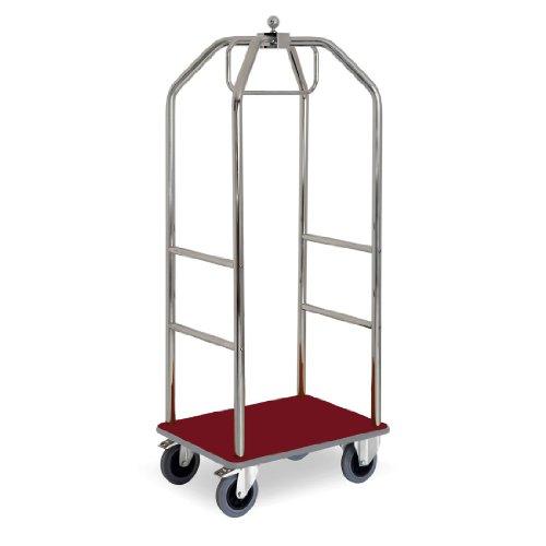 ETERNASOLID® Kleider- und Gepäckwagen verchromt, Teppich-Rot, Länge 79cm