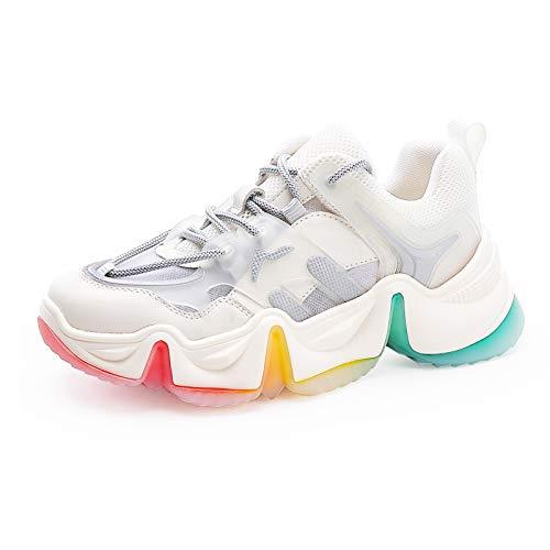 MecKiss - Zapatillas de deporte para mujer, para senderismo, gimnasio, tenis, tiempo...