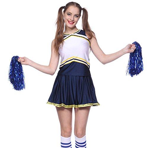 maboobie Debardeur Jupe Plissee Bi-Ton Contrast Deguisement Cheerleader Uniforme avec 2 Pompoms Bleu et Blanc M(34-36)