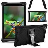 KATUMO 8 Pulgadas Silicona Tableta Funda para Huawei Mediapad M6 [Correa para el Hombro y S Pen] Funda Protectora para Samsung Galaxy Tab A 8.0 2019 SM-T290 / T295 / T297, Teclast P80X / P80H ,Negro