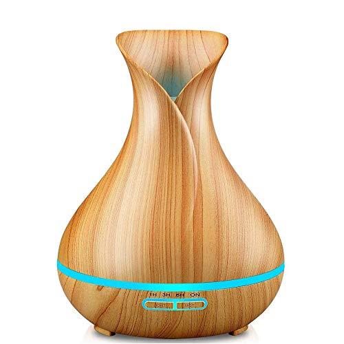 LoveJia Cool Mist luchtbevochtiger, houtnerf aromatherapie etherische olie diffuser stille werking instelbare misthoeveelheid luchtbevochtiger ultrasoon geluid met 7 kleurrijke ledlampen