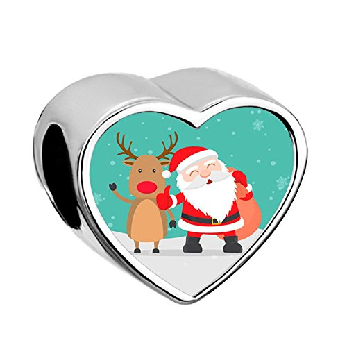 UNIQUEEN Heart Photo Charms Christmas Tree Santa Claus Gift Beads fit Bracelet