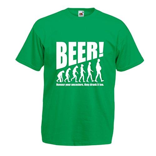 lepni.me Camisetas Hombre The Beervolution - Ideas Divertidas únicas sarcásticas del Regalo para los Amantes de la Cerveza, evolución de consumición