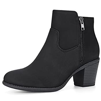 Allegra K Women Round Toe Stacked Chunky Heel Zipper Black Ankle Boots 9 M US