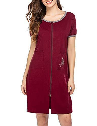 Ekouaer Sleepwear Women Zipper Front House Coat Lightweight Soft Robe Short Nightgown Wine Red