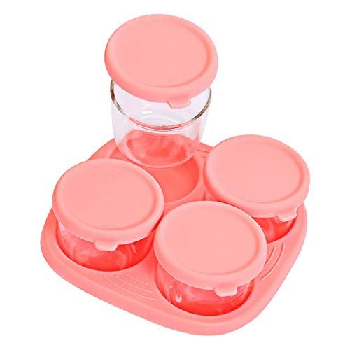 QiKun-Home Productos para bebés con Tapa Silicona Vidrio de borosilicato Suplemento alimenticio Caja de conservación Fresca Caja de Almacenamiento sellada Rosa