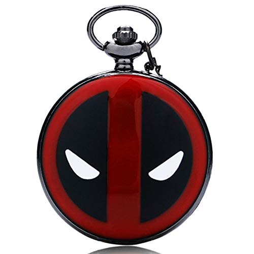 Black&Red Dial Cool Mask Quartz Mens Pocket Watch Pendant w/Necklace Chain+Pocket Chain+Box Xmas Gifts