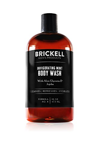 Brickell Men's Invigorating Mint Body Wash for Men, Natural and Organic Deep Cleaning Shower Gel with Aloe, Glycerin, and Tea Tree Oil, Sulfate Free, 16 Ounce, Scented