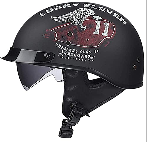 LI DANNA Motorcycle Half Helmet, Open-Face Motorbike Helmets DOT Certification Motorcycle Chopper Bike Helmet Comfortable Lightweight Jet-Helmet,Black2-Medium
