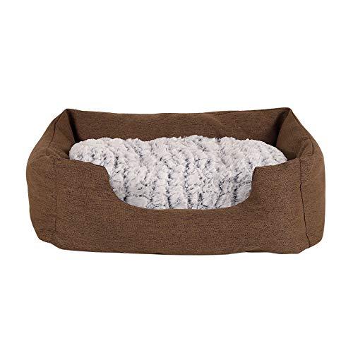 dibea Cama para perros con cojín reversible tela mezcla cómodo sofá (S) 60x50 cm Marrón