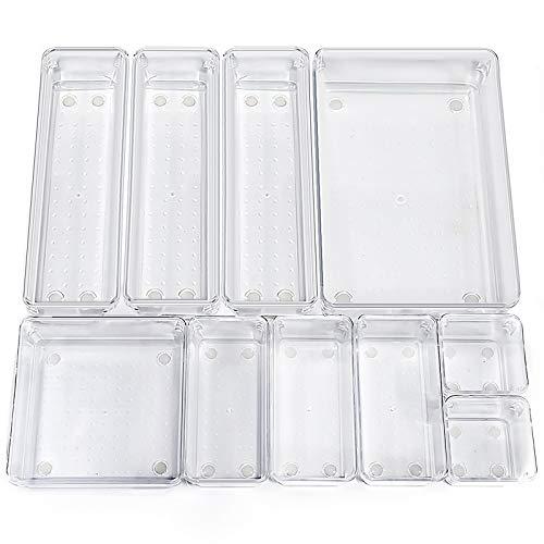 PAIWEI 10 Stücke Getrennte Schublade Organizer Ordnungssystem mit 5-Größen-Aufbewahrungsboxen aus durchsichtigem Kunststoff Divider Make-up Organizer für Küche Büro Schminktisch Kosmetik