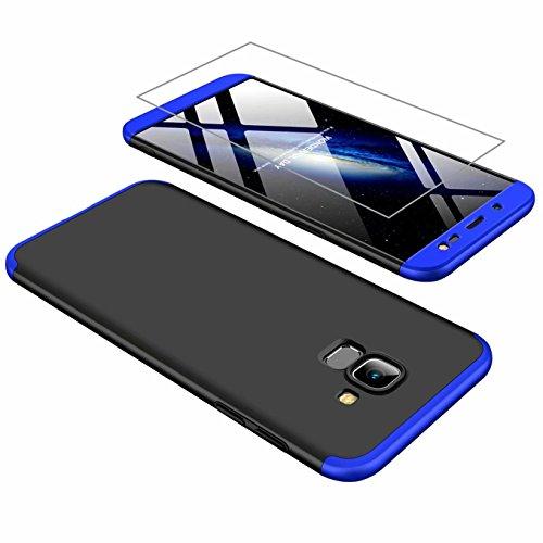 AILZH Funda movil Compatibles para Samsung Galaxy J6 2018 Carcasa+[Cristal Templado] 360 Grados Caja protección de cáscara Dura Anti-Shock Caso Mate Bumper Antichoque Case Cover(Azul Negro)