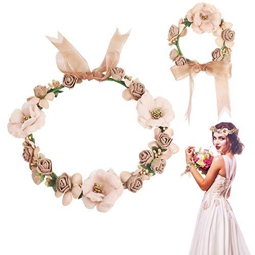 ZERHOK 2Stk Blumenkranz Haare mit Blumenarmband Einstellbar Blumenstirnband Brautjungfer Blumenkrone Künstliche Boho Blume Haarkranz für Hochzeit Karneval Elfen Blumenfeen Cosplay Kostüm