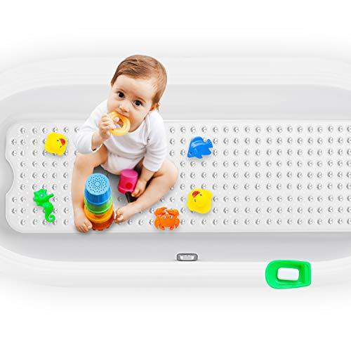 Badewannenmatten, Kinder Rutschfest Badematte mit 200 Saugnäpfen, Badematte Antirutsch maschinenwaschbar, Lang Duschmatte für Badezimmer Babys Haustier Handwaschbar 100*40 cm (Transparentes Weiß)