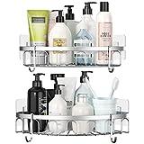 Stusgo - Mensola per doccia ad angolo, per doccia e doccia, in acciaio inox SUS304, con 4 ganci per dormitorio, confezione da 2